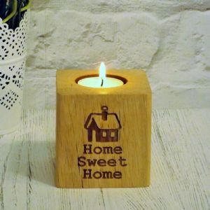 Home Sweet Home T Light Candle Holder English Oak Solid Wood